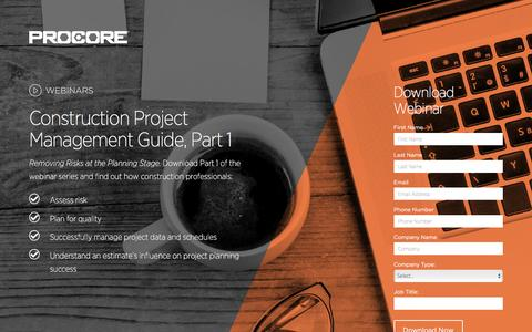 Screenshot of Landing Page procore.com captured March 23, 2016