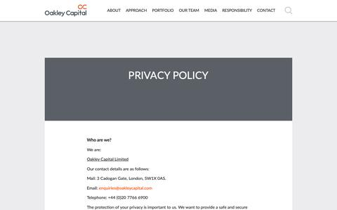 Screenshot of Privacy Page oakleycapital.com - Privacy policy | Oakley Capital Private Equity - captured Oct. 20, 2018