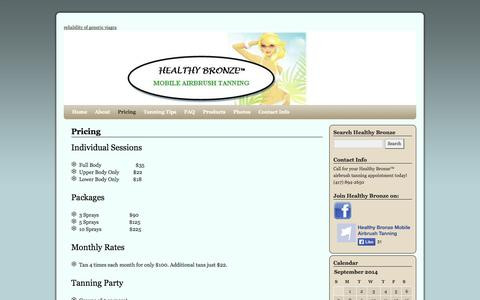 Screenshot of Pricing Page healthybronze.com - Pricing | Healthy Bronze - captured Sept. 29, 2014