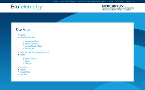 Screenshot of Site Map Page biotelinc.com - Site Map | BioTelemetry, Inc. - captured Oct. 5, 2014