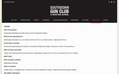 Screenshot of FAQ Page southdowngunclub.co.uk - FAQ - Southdown Gun Club - captured Oct. 18, 2018