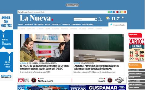 Screenshot of Home Page lanueva.com - La Nueva - La Nueva Provincia - Diario de Bahía Blanca - captured Oct. 19, 2016
