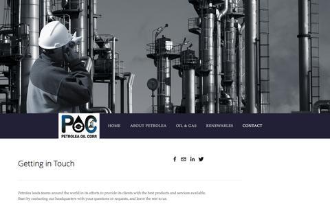 Screenshot of Contact Page petroleaenergy.com - Contact — Petrolea Oil Corp. - captured Oct. 2, 2014