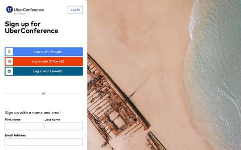 Screenshot of Signup Page uberconference.com - UberConference - captured Sept. 4, 2019