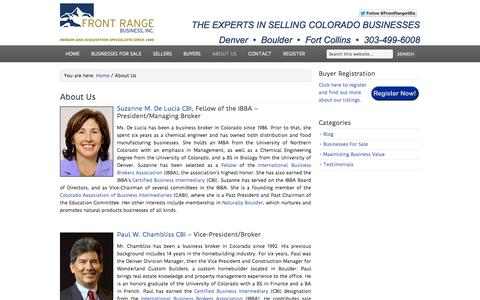 Screenshot of About Page frontrangebusiness.com - About Us - captured Sept. 19, 2014
