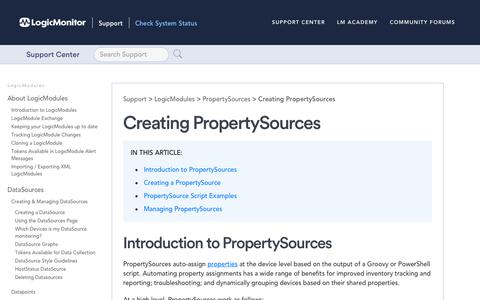 Screenshot of Support Page logicmonitor.com - Creating PropertySources | LogicMonitor Support - captured Dec. 12, 2019