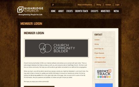 Screenshot of Login Page highridgechurch.com captured Sept. 30, 2014
