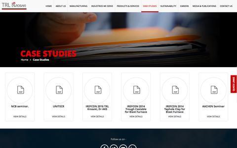 Screenshot of Case Studies Page trlkrosaki.com - TRL Krosaki :: Case Studies - captured Dec. 1, 2016