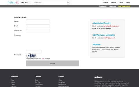 Screenshot of Contact Page noisyox.com - contact-us - captured Oct. 26, 2014
