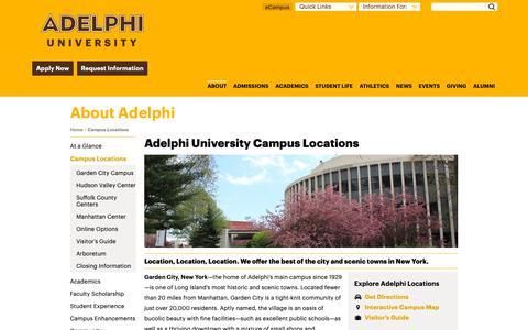 Screenshot of Locations Page adelphi.edu - College Campus Locations   Adelphi University - captured Oct. 3, 2018