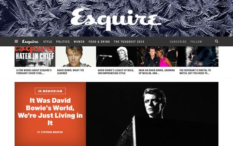 Screenshot of Home Page esquire.com - Esquire - Men's Fashion, Cocktails, Politics, Interviews, and Women - captured Jan. 11, 2016