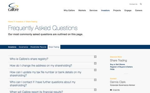 Screenshot of FAQ Page calibregroup.com - Share Trading | FAQs | Calibre Group - captured May 13, 2017
