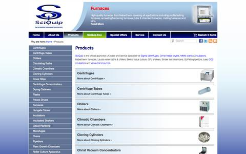 Screenshot of Products Page sciquip.co.uk - Lab Equipment | Lab Supplies | New Used Laboratory Supplies - captured Oct. 4, 2014