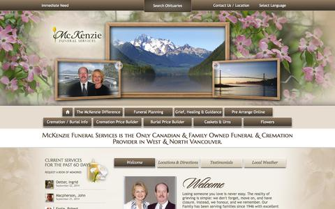 Screenshot of Home Page mckenziefuneralservices.com - McKenzie Funeral Services - WEST VANCOUVER BC - captured Sept. 30, 2014