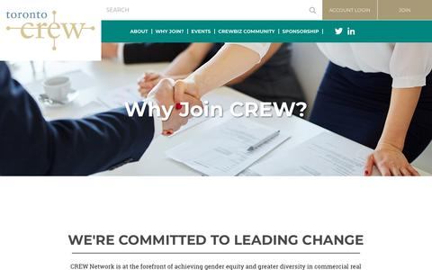 Screenshot of Signup Page torontocrew.org - Toronto CREW - Why Join? - captured June 29, 2018