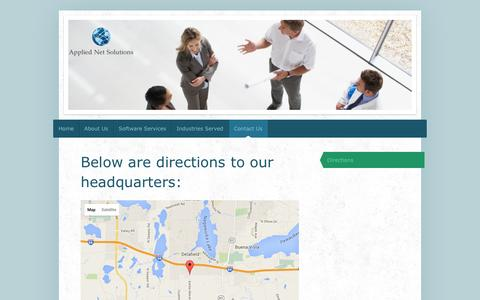 Screenshot of Maps & Directions Page appliednetsolutions.com - Applied Net Solutions-Official Site - Directions - captured Dec. 25, 2015