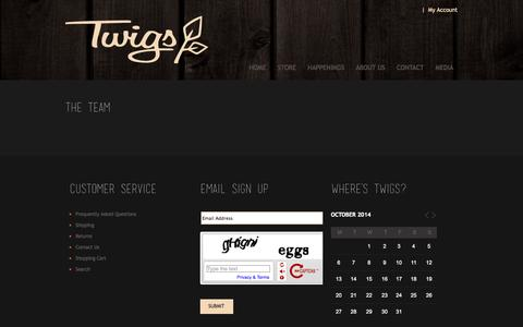 Screenshot of Team Page twigswoodwear.com - Twigs Woodwear - captured Oct. 7, 2014