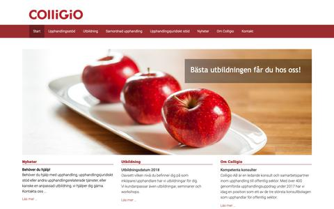 Screenshot of Home Page colligio.se captured Sept. 28, 2018