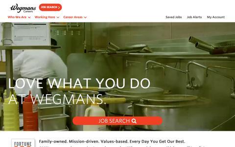 Screenshot of Jobs Page wegmans.com - Working at Wegmans Food Markets - captured July 13, 2019