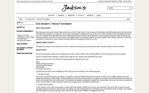 Screenshot of Privacy Page jacksonsart.com - Site Security / Privacy Statement | Jackson's Art Supplies - captured Oct. 16, 2017