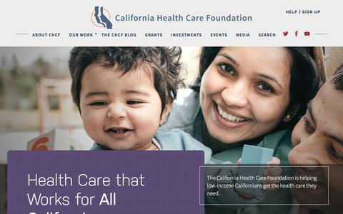Screenshot of Home Page chcf.org - California Health Care Foundation - Health Care That Works for All Californians - captured Sept. 23, 2018