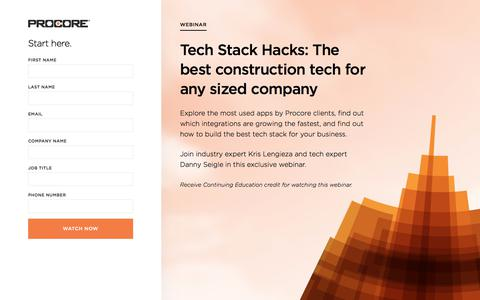 Screenshot of Landing Page procore.com - Tech Stack Hacks: The best construction tech for any sized company - captured March 31, 2018