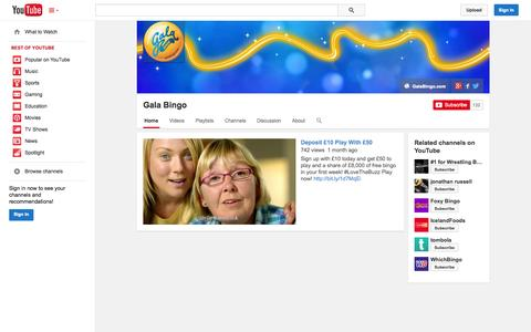 Screenshot of YouTube Page youtube.com - Gala Bingo  - YouTube - captured Oct. 23, 2014