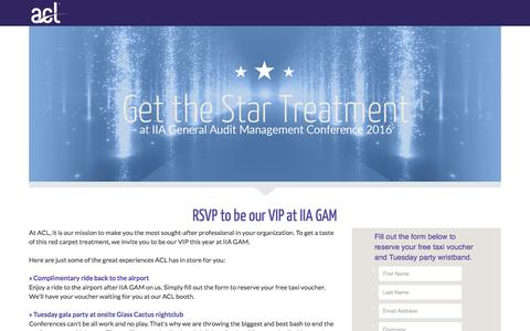 Screenshot of Landing Page acl.com - Sign up for the star treatment at IIA GAM - captured March 4, 2018