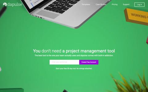 Screenshot of Home Page dapulse.com - dapulse: Project management is better when it's visual - captured Sept. 21, 2016