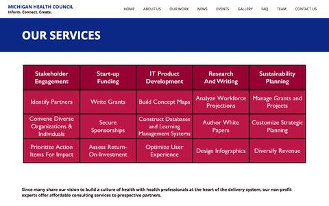 Screenshot of Services Page mhc.org - Our Services - Michigan Health Council - captured Feb. 13, 2016