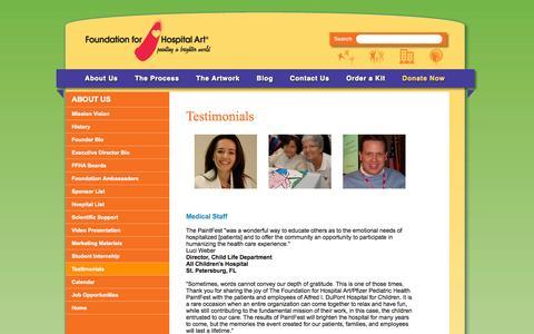 Screenshot of Testimonials Page hospitalart.org - Foundation For Hospital Art Testimonials - About Us - captured Oct. 6, 2014