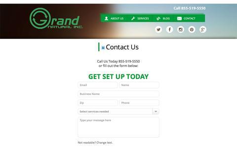 Screenshot of Contact Page grandnaturalinc.com - Contact - captured July 17, 2016