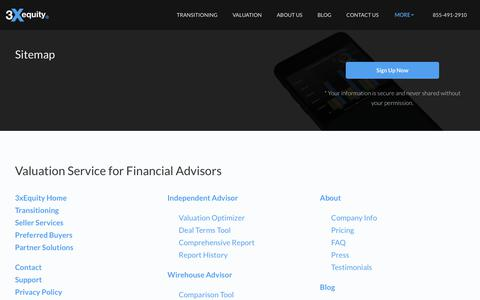 Screenshot of Site Map Page 3xequity.com - Financial Advisor Valuation Sitemap - 3xEquity - captured Dec. 10, 2018