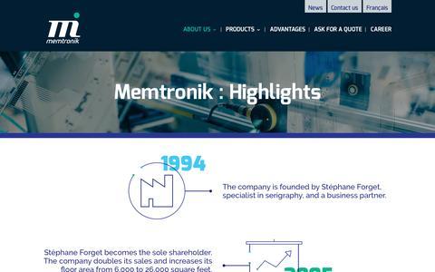 Screenshot of About Page memtronik.com - Membrane Keypads Manufacturing | Memtronik - captured Nov. 28, 2016