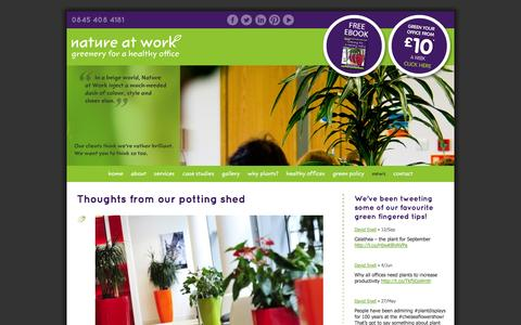 Screenshot of Press Page nature-at-work.co.uk - News - Nature at Work - office plants, office pot plants, office tropical plants - captured Oct. 6, 2014