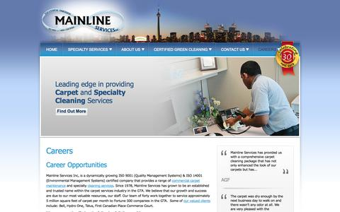 Screenshot of Jobs Page mainlineservices.com - Mainline Careers | Commercial Carpet Maintenance & Upholstery Cleaning Toronto - Mainline Services Inc. - captured Oct. 4, 2014