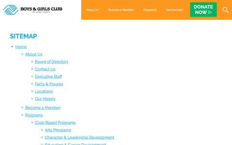 Screenshot of Site Map Page bgcdc.org - Sitemap | All Pages | Boys & Girls Club of Dane County - captured Oct. 6, 2018