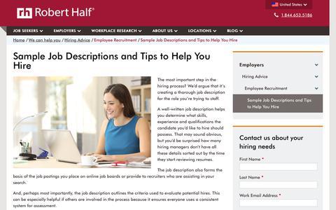 Screenshot of roberthalf.com - Sample Job Descriptions | Job Description Tips & Tools | Robert Half - captured June 24, 2017