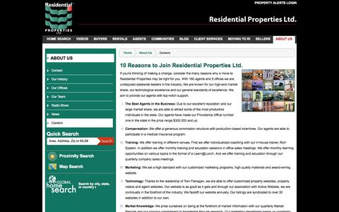 Screenshot of Jobs Page residentialproperties.com - Careers - captured Oct. 1, 2014