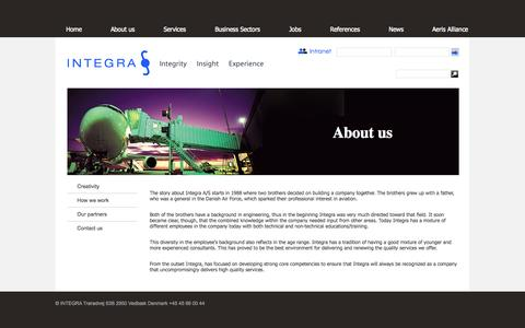 Screenshot of About Page integra.dk - About us | Integra - captured Oct. 3, 2014