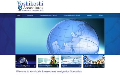 Screenshot of Home Page yoshikoshi.com.au - Yoshikoshi & Associates Immigration Specialists - captured Aug. 20, 2019