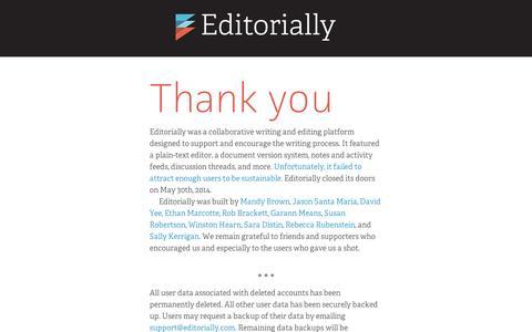 Screenshot of Home Page editorially.com - Editorially - captured Sept. 11, 2014