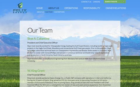 Screenshot of Team Page felix-energy.com - Our Team | Felix Energy - captured Oct. 5, 2014