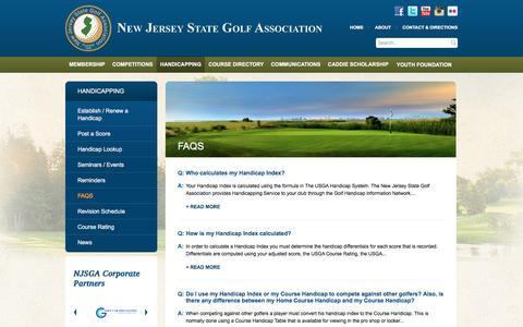 Screenshot of FAQ Page njsga.org - FAQs | New Jersey State Golf Association | NJSGA | NJ Golf Courses, Clubs - captured Feb. 27, 2016