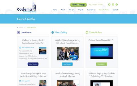 Screenshot of Press Page codema.ie - News & Media | Energy Efficiency Agency Dublin | Codema - captured Sept. 28, 2018