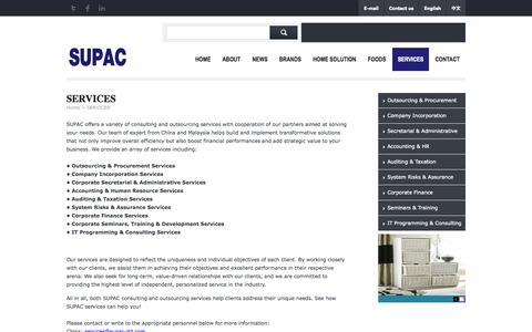 Screenshot of Services Page supac-ltd.com - SERVICES - SUPAC - captured Oct. 7, 2014