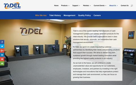Screenshot of About Page tidel.com - About Tidel | A Global Leader in Cash Management Systems - captured Oct. 19, 2018