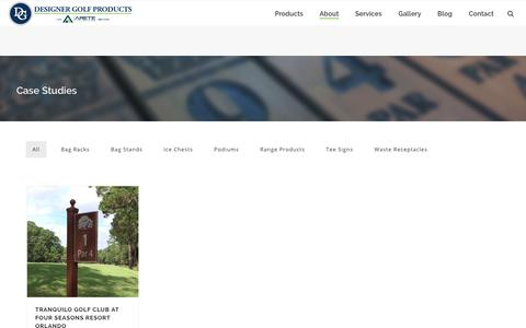 Screenshot of Case Studies Page designergolfcompany.com - Designer Golf Products | Course Furnishings & Accessories Customers - captured Oct. 8, 2018