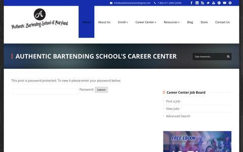 Screenshot of Jobs Page authenticbartendingmd.com - Authentic Bartending School's Career Center - captured Oct. 4, 2014