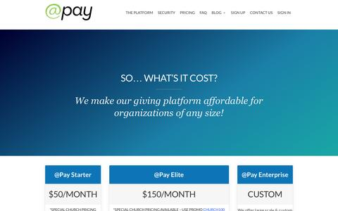 Screenshot of Pricing Page atpay.com - Pricing Self Serve - @Pay | Giving Platform - captured Feb. 21, 2016